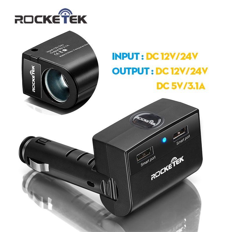 Rocketek car-charger 3.1A Smart IC Dual USB Car Charger Adapter with Socket Car Cigarette Lighter Splitter Adapter