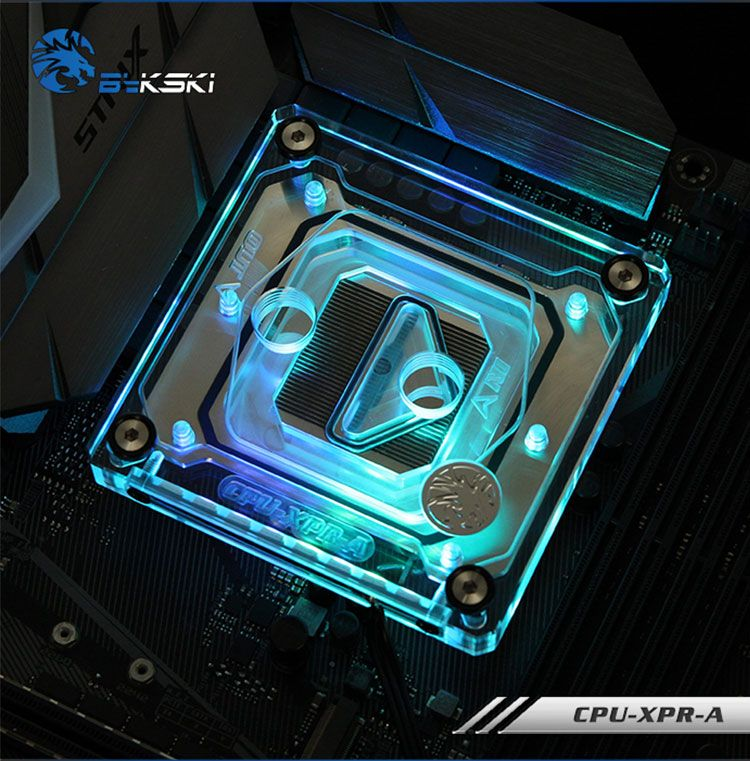 Bykski CPU Water Cooling Radiator Block use for INTEL LGA1150 1151 1155 1156 2011 X99 Transparent with RGB Liquid Cooling System