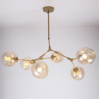 Nordic gold DNA molecule herringbone branch Pendant Light Bar Dining Room Bubble Glass Shade Retro Lamp Fixtures