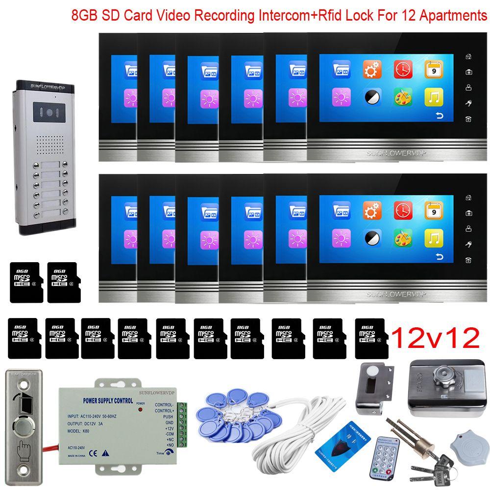 Für 12 Apartments Video Aufnahme Intercom Video Intercom Mit Rfid Schloss 8 GB 7 Sd Karte Indoor Monitor 12 einheiten Video-türsprechanlage
