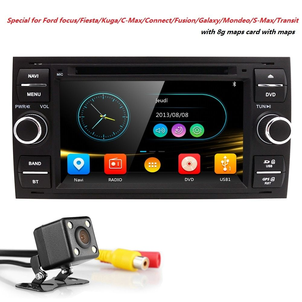 Wholesale! 2Din 7Inch Car DVD Player For Ford/Focus/Mondeo/Transit/C-MAX/Fiest With GPS Navigation Radio BT 1080P Ipod FM/AM Map