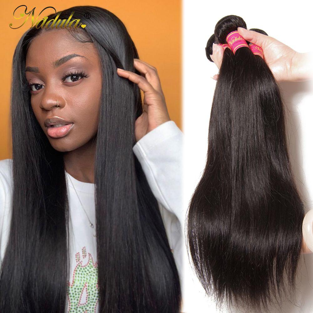 Nadula cheveux indien cheveux raides 3/4 paquets cheveux indiens droite 8-30 pouces 100% Remy cheveux humains armure faisceaux Machine Double trame