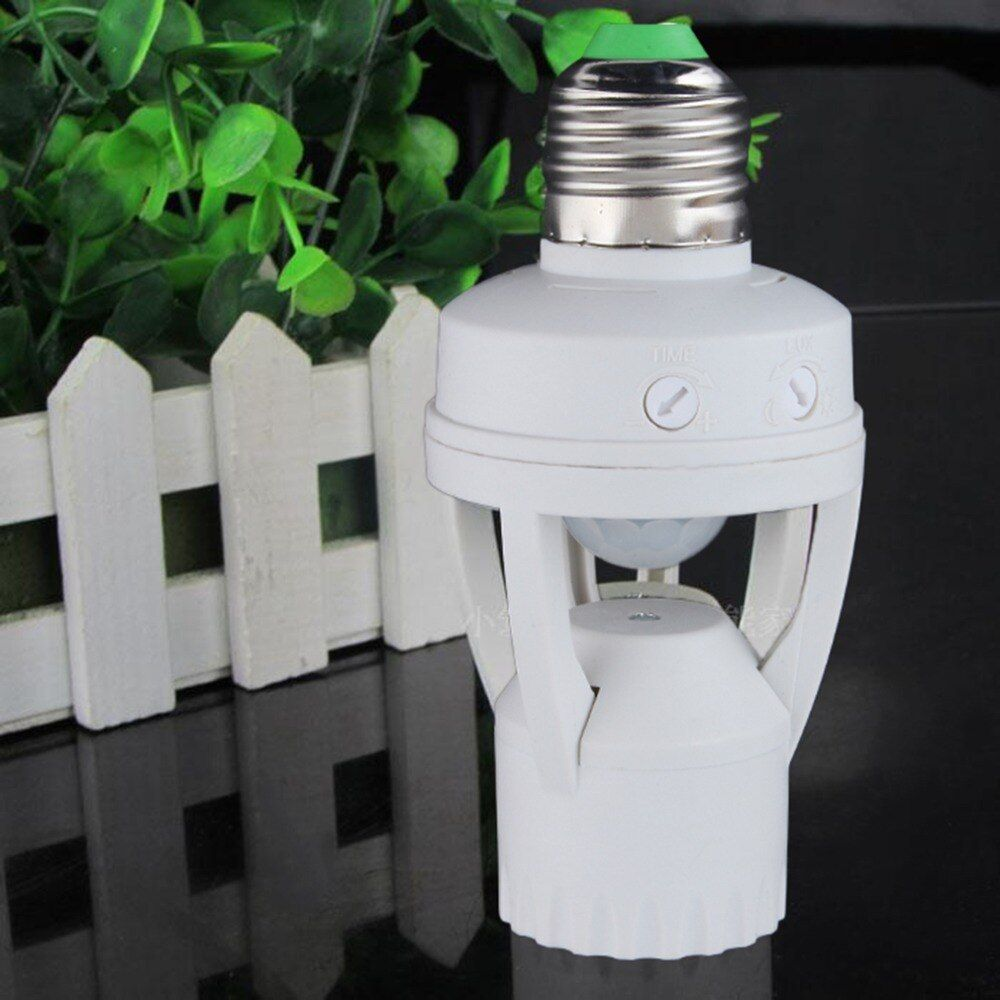 E27 Plug Smart 110V-240V 60W PIR Induction Infrared Motion Sensor E27 LED lamp Base Holder With light Control Switch Bulb Socket