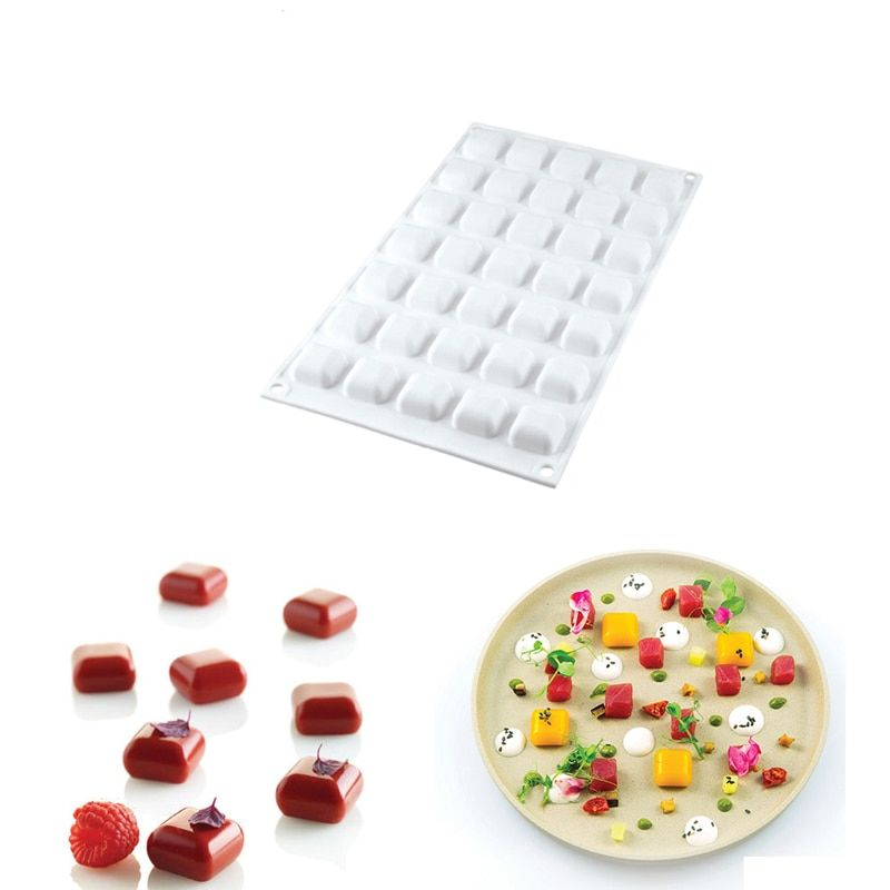 DINIWELL 3D Mini moule de cuisson de gâteau de Silicone de gemme carrée de 35 cavités pour des bonbons durs de chocolat