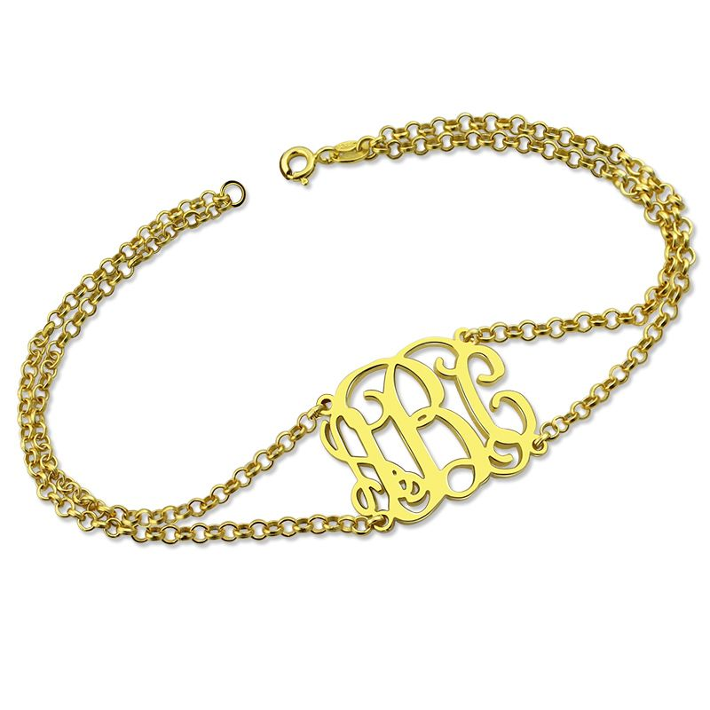 Wholesale Monogram Bracelet with Double ChaGold Color Layered Monogram Initial Bracelet Mother's Day Gift