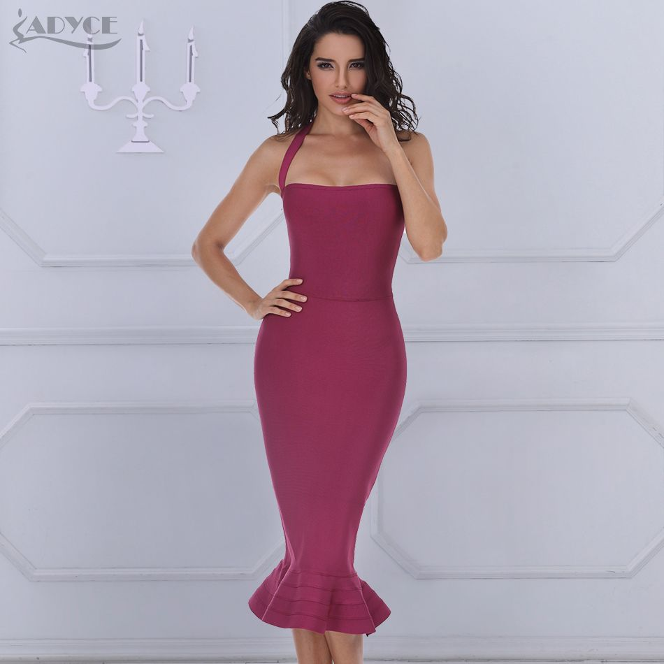2018 New Bandage Dress Sexy Women Party Dress Khaki Wine Red Bodycon Dress Halter Fishtail Midi Club Backless summer Dresses