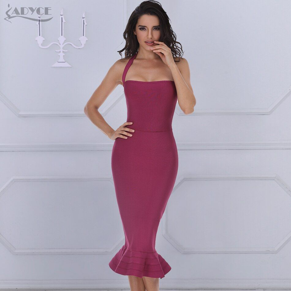 2018 Nouveau Bandage Robe Sexy Robe de Partie De Femmes Kaki Vin Rouge Moulante Robe Halter Fishtail Midi Club Dos Nu Robes d'été
