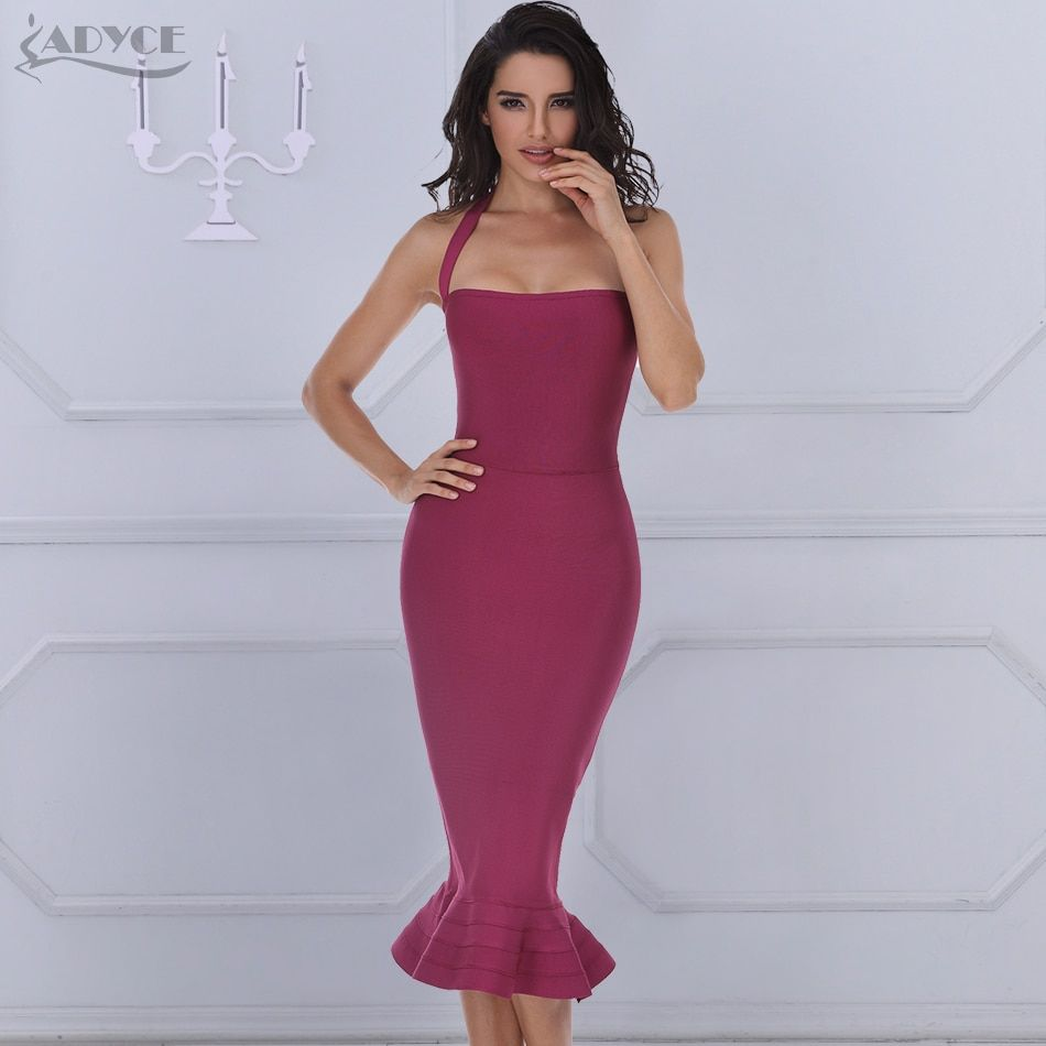ADYCE 2018 New Summer Bandage Dress Women Sexy Wine Red Bodycon Dress Halter Fishtail Midi Club Backless Celebrity Party Dresses
