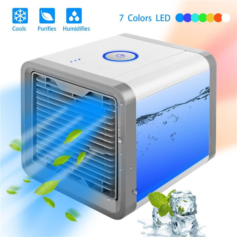 Mini USB Portable Air Conditioner Humidifier Purifier 7 Colors Light Desktop Air Cooling Fan Air Cooler Fan For Office Room
