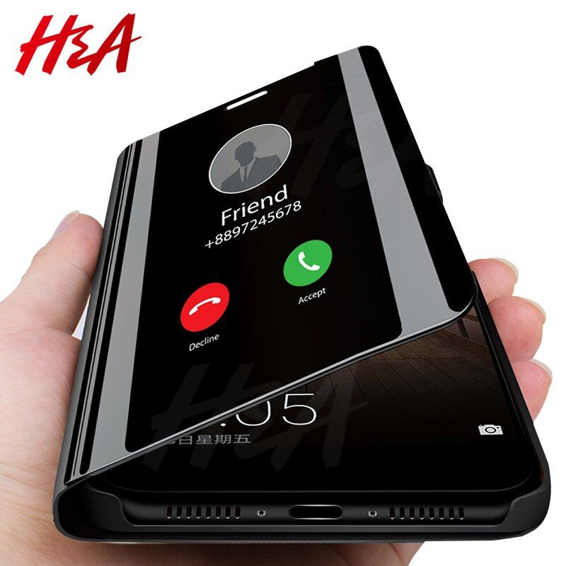 H&A Smart Mirror Flip Phone Case For Samsung Galaxy S9 S8 S7 S6 Edge Plus A3 A5 A7 J3 J5 J7 2017 Clear View Cover J6 A6 A8 Case