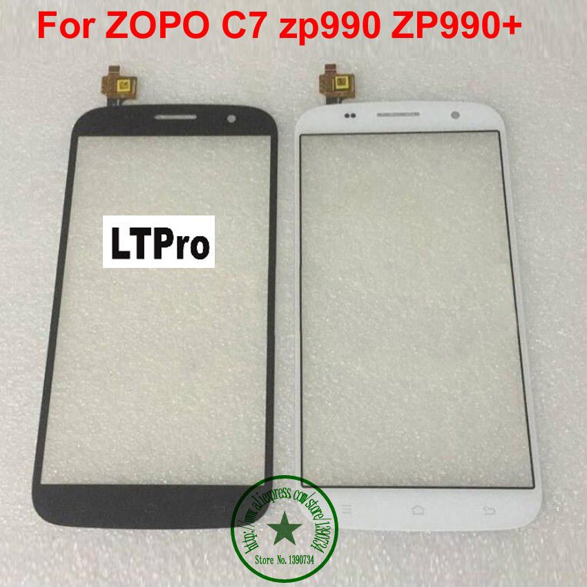 LTPro TOP Quality White Black Front Glass Sensor Panel Touch Screen Digitizer For Zopo ZP990 ZP990+ C7 Mobile Replacement parts