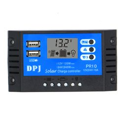 24V 12V 10A Auto Solar Panel Battery Charge Controller PWM LCD Display Solar Collector Regulator with Dual USB Output