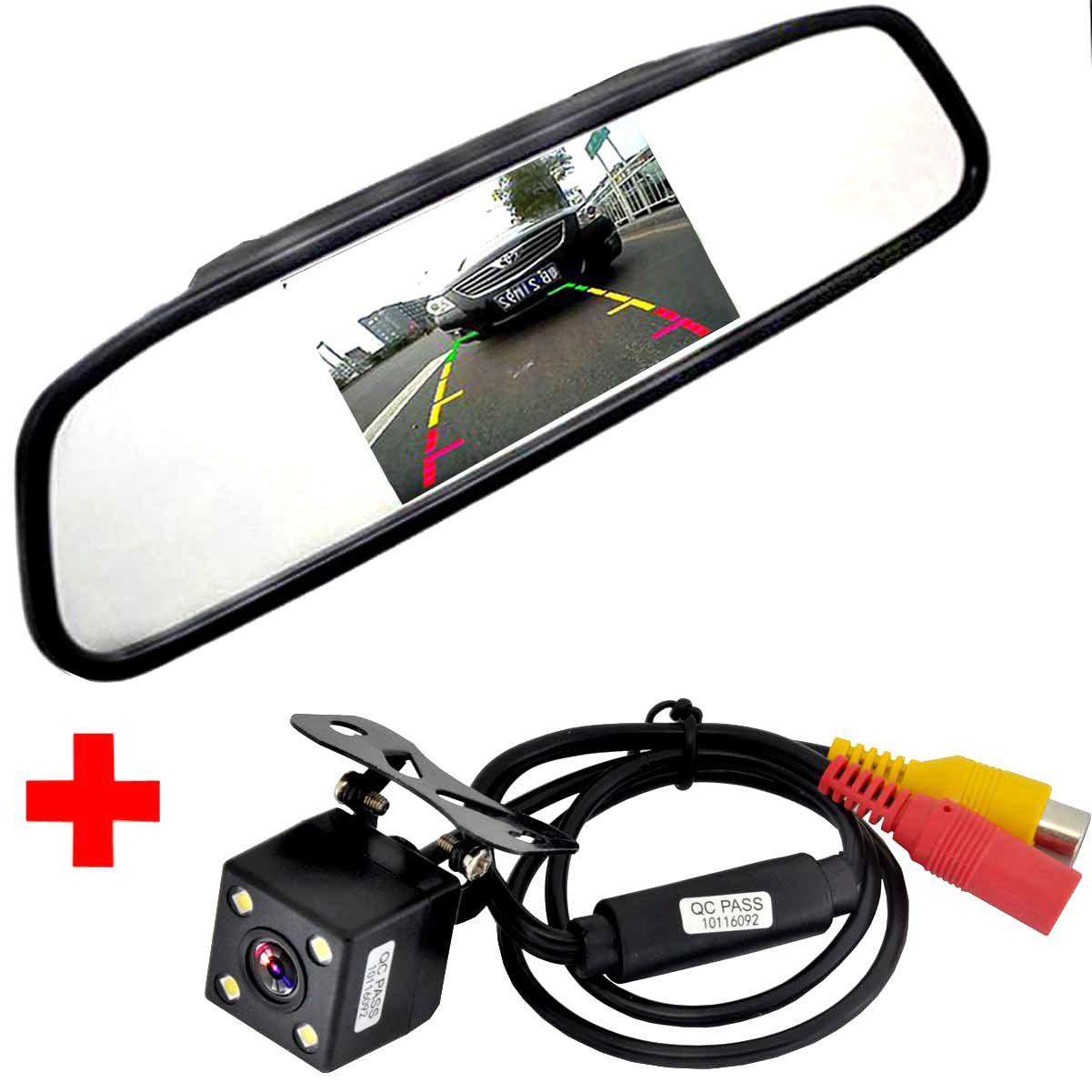 Moniteur automatique visuel de stationnement de voiture de HD, Vision nocturne de LED inversant la caméra de vue arrière de voiture de CCD avec le moniteur de rétroviseur de voiture de 4.3 pouces