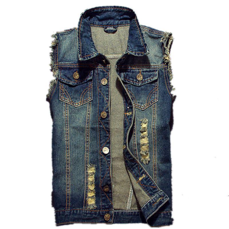 2019 déchiré Jean veste hommes Denim gilet Hip Hop Jean manteaux gilet hommes Cowboy marque sans manches veste mâle réservoir grande taille 6XL