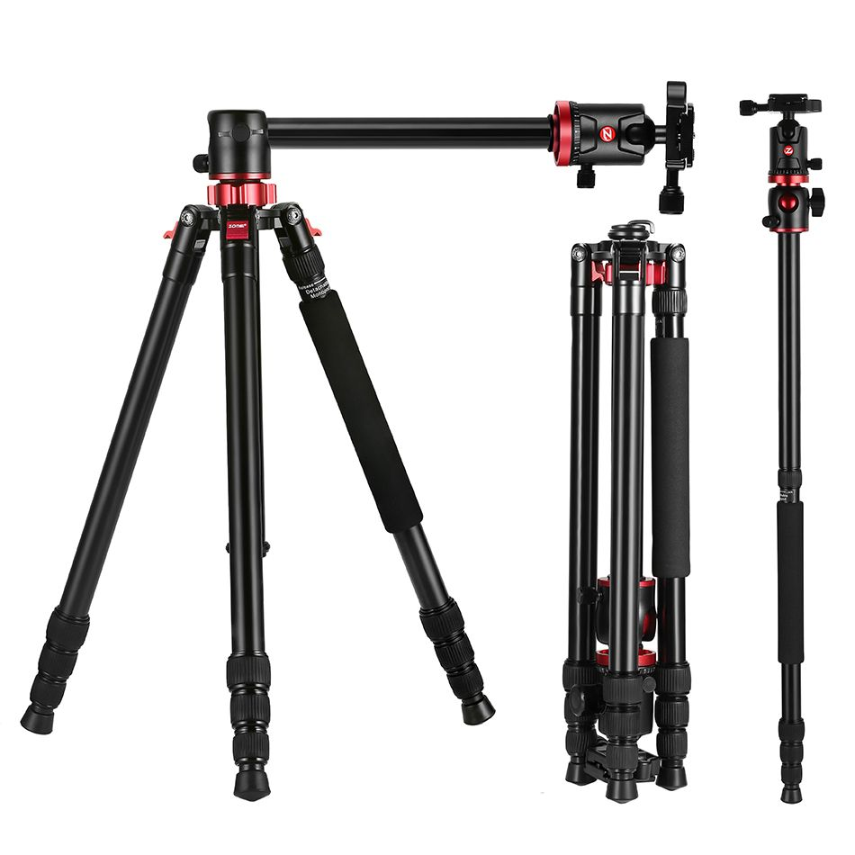 ZOMEI Portable Aluminium Transverse Center Axis M8 Camera Tripod With 360 Degree Ball Head for DV DSLR