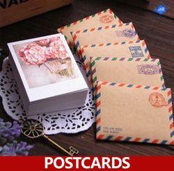60 X (Kartu + Kraft Amplop + stiker)/set, musim 4 makanan penutup mini kartu pos sebagai festival kartu ucapan