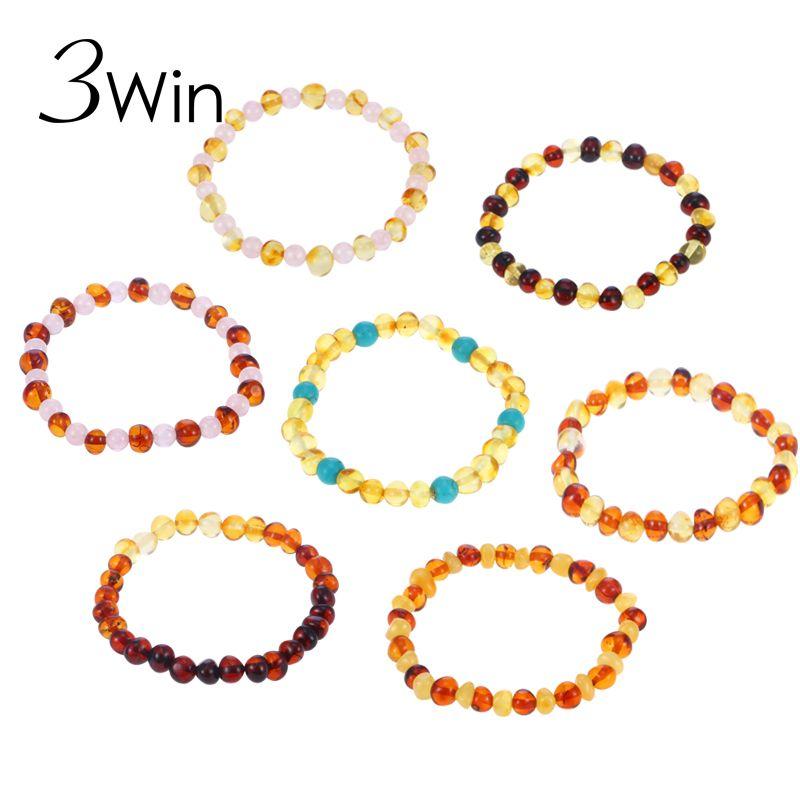 3win 17 colores Ambar pulsera para las mujeres bebé joyería natural regalo certificado genuino Báltico Ambar Cuentas pulsera sin cierre