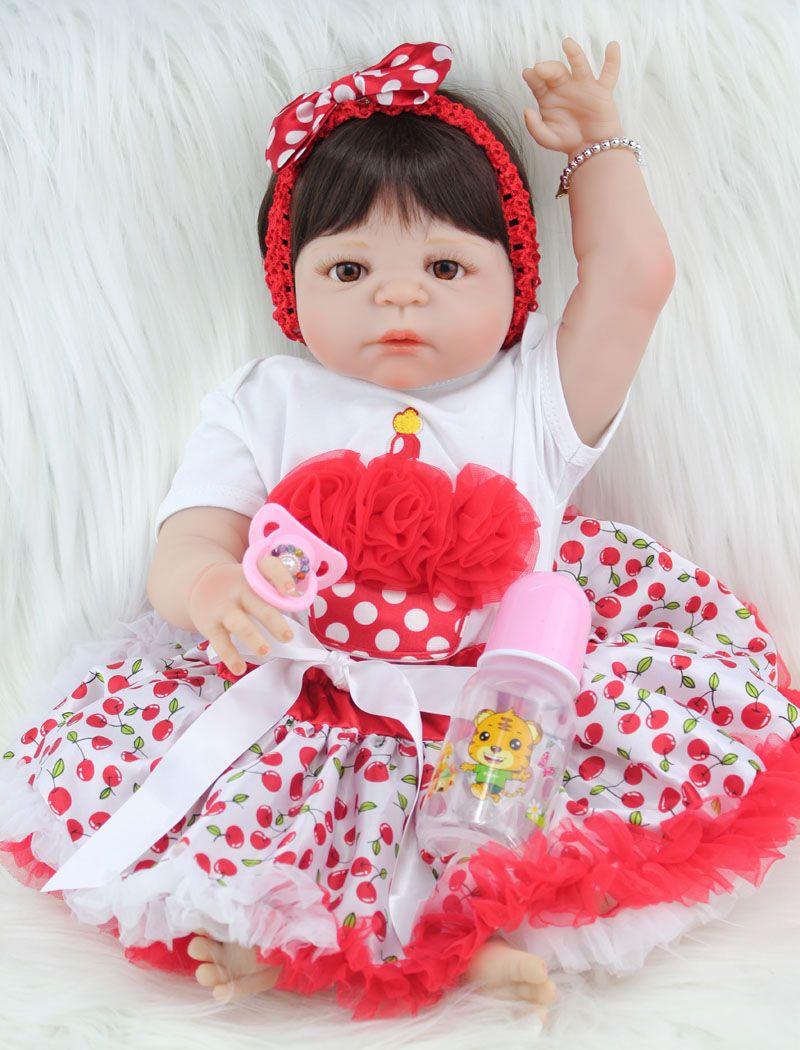 55cm Full Body Silicone Reborn Girl Baby Doll Toy Lifelike Newborn Princess Babies Doll Fashion Kids Birthday Gift Bathe Toy