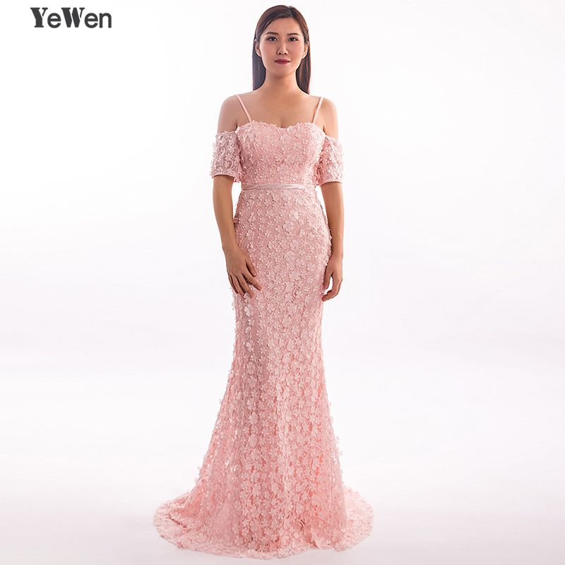 Sexy Short Sleeves Mermaid Flower gala Formal Dress Evening Dresses 2018 Long Beaded elegant Lace Pearls prom party Gown YeWen