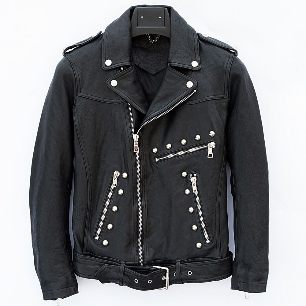 HARLEY DAMSON Black Men Rivet Biker's Leather Jackets Diagonal Zipper Slim Fit Genuine Sheepskin Short Riding Leather Coat