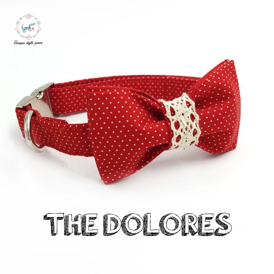 Rouge Dot collier de chien et laisse ensemble avec noeud papillon personnalisé personnalisé réglable Pet chiot 100% coton chien cadeau d'anniversaire