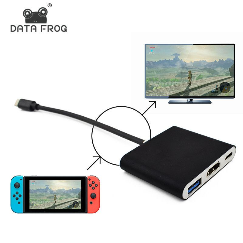 Data Frog HDMI Type C Adapter For Nintend Switch Hub USB-C to HDMI Mini Dock Station HD <font><b>Transfer</b></font> For MacBook Xiaomi Laptop Phone
