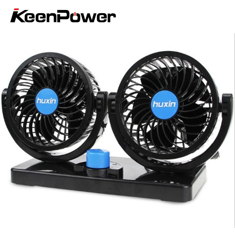 Keenpower 12V DC Rotary Electric Car Fan 2 Speed Double Head Crucible Car Air Conditioner Portable Aircooling Fan Auto 12V Black