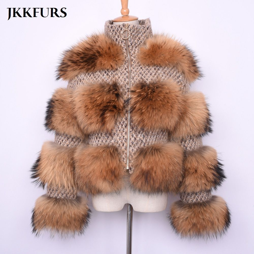 New Women's Real Raccoon Fur Coat Winter Fashion Thick Warm Fur Jacket Genuine Natural Fur High Quality S7458