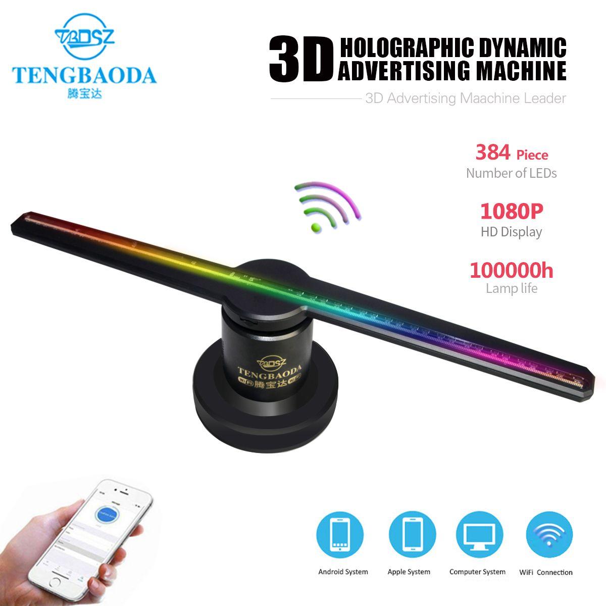 TBDSZ Verbesserte 42 cm/16,54 Wifi 3D Holographische Projektor Hologramm Player Nackt Auge Led-anzeige Fan Werbung Licht APP Control