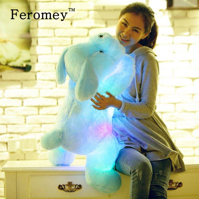 35/50 cm Kawaii Perro Muñeca de la Felpa Juguetes de Peluche Colorido Luminoso LED Que Brilla Intensamente Cachorro de Perro de Peluche Juguetes Para Niños Kids Regalo de cumpleaños