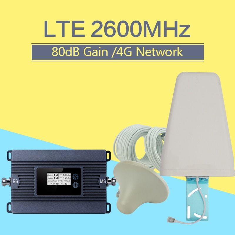 80dB 4G LTE 2600mhz Mobile Phone Signal Repeater 4G LTE 2600 Cellular Signal Repeater 4G Signal Amplifier Antenna Set For Europe