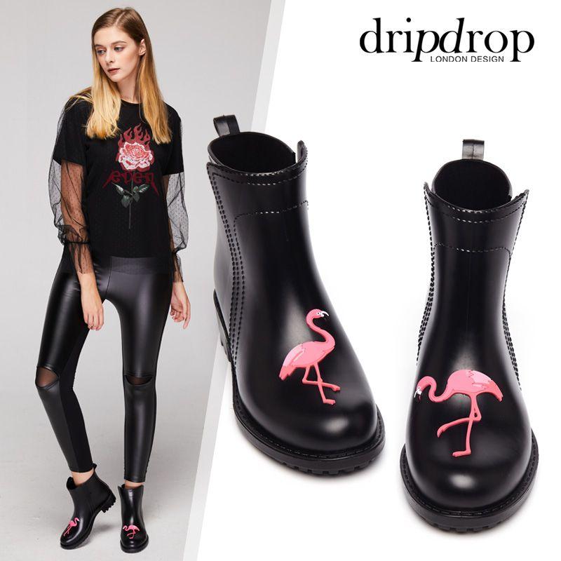 Flamingo Rain Boots Women Pvc Cat Prince Waterproof High Heel Water Shoes Short Ankle Gummistiefel Rainboots Damen Female Rubber