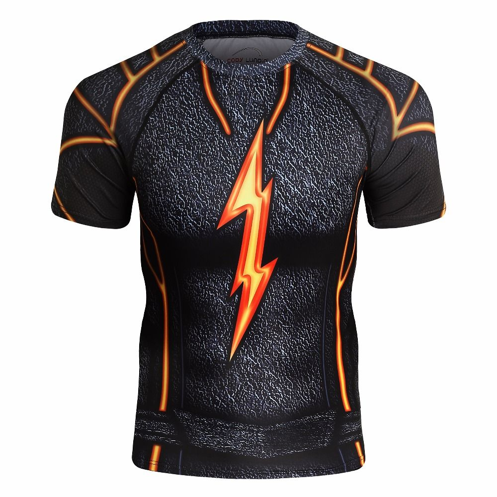 2018 New Captain America 3D T-Shirt Men's Fitness Compression Shirt Jacket Men's Print Super Hero Lightning Penalizer Crossfit A