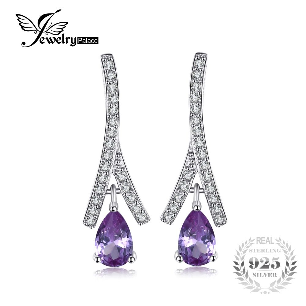 JewelryPalace New 1.3ct Pear Created Alexandrite Sapphire Water Drop Earrings 925 Sterling Silver Jewelry Fine Jewelry For Women
