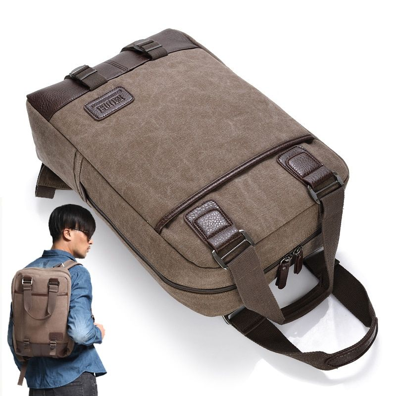 Vintage toile 13 14 15.6 17.3 pouces sac à dos pour ordinateur portable voyage ordinateur portable sac à dos sac d'école pour hommes femmes