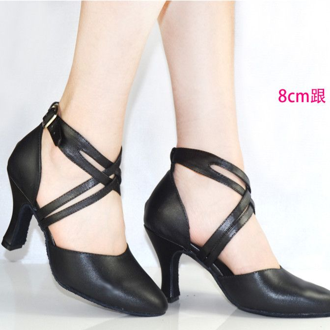 New 2019 Women Shoe In Leather Dance Shoes Black Close Toe Women Latin Salsa Shoes High Ballroom Shoes for Ladies