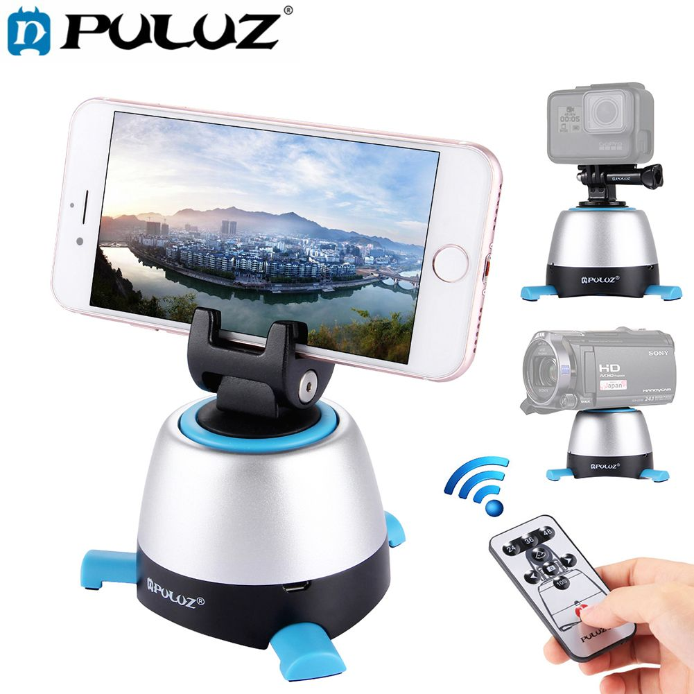Electronic Lapse Time Rotating Pan Head 360 Degree Rotation Panoramic Tripod Head With Remote for Action Camera Smartphone DSLR