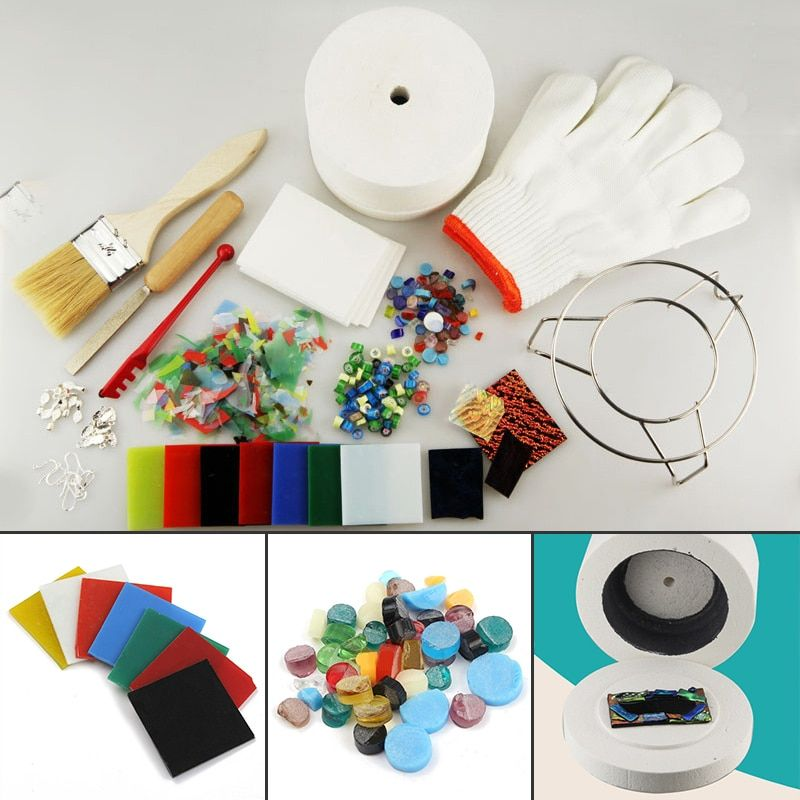15pcs Professional Small Microwave Kiln Tool Set Stained Glass Fusing Supplies DIY Kit MAYITR