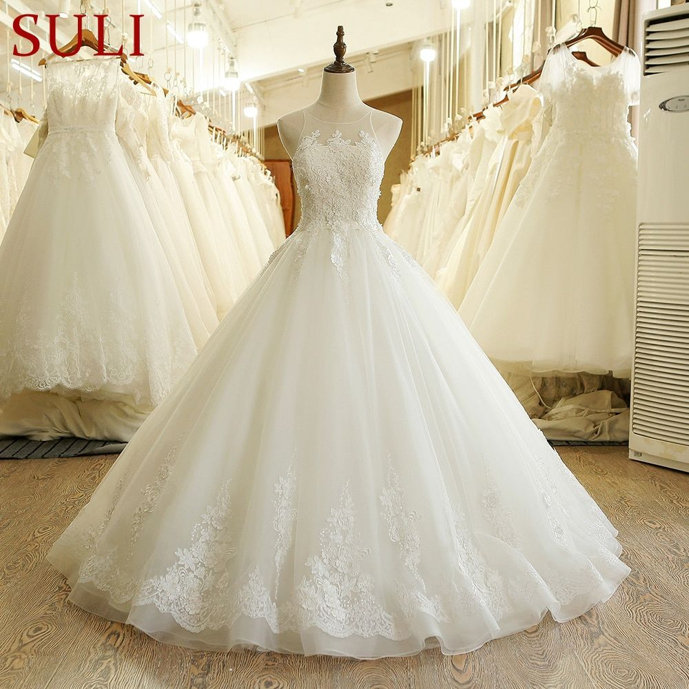 SL-208 New Arrival A-Line Lace Appliques Wedding Dress Made In China 2017