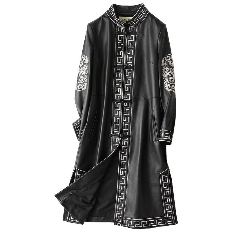 Herbst Winter Echtem Leder Jacke Real Schaffell Leder Mantel Frauen Kleidung 2018 Vintage Lange Jacken Chaqueta Mujer ZL760