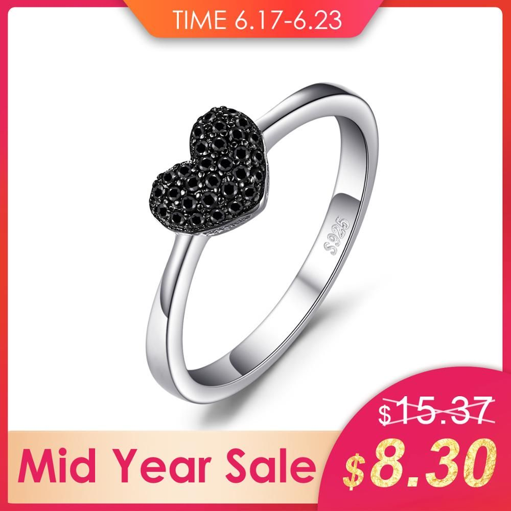 Bijoux palace mode 0.14ct naturel noir spinelle amour coeur anneaux pour les femmes 100% 925 en argent Sterling cadeaux de mariage bijoux fins