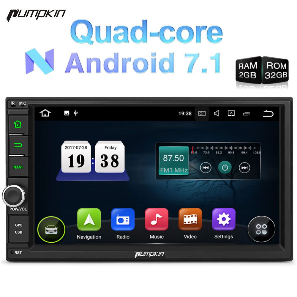 Pumpkin 2 Din 7'' Android 7.1 Universal Car Radio No DVD Player GPS Navigation Quad-Core Car Stereo OBD2 DAB+ Wifi 3G Headunit