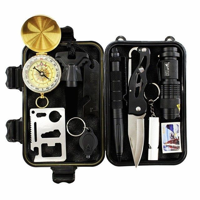 10 In 1 Emergency <font><b>Survival</b></font> Gear Professional First Aid Kit Outdoor Camping Hiking <font><b>Survival</b></font> Tools Whistle Flashlight Tactical Pen