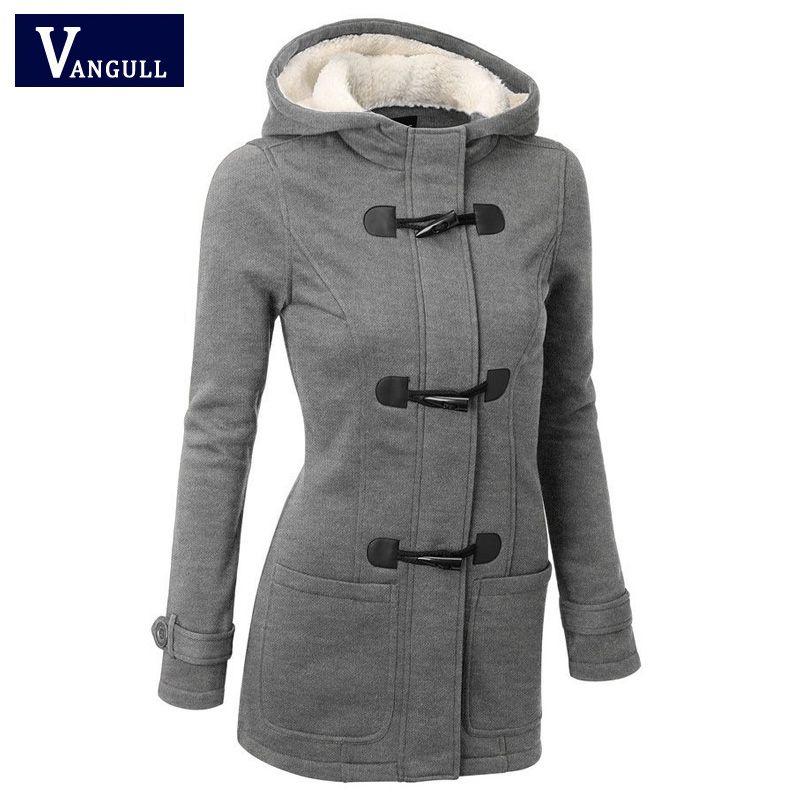 Women Causal Coat 2018 New Spring Autumn Women's Overcoat Female <font><b>Hooded</b></font> Coat Zipper Horn Button Outwear Jacket Casaco Feminino