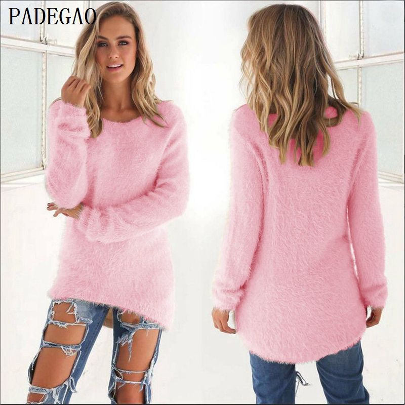 PADEGAO women pink pullover sweater jumper autumn winter o neck long sleeves loose casual knitted black tops pullovers sweaters