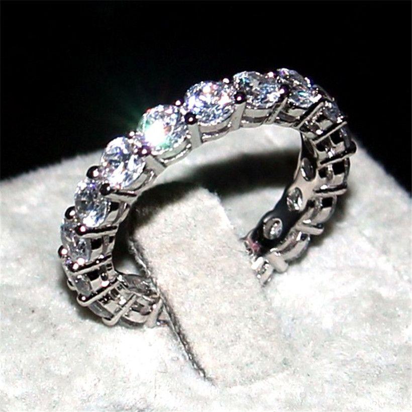Bijoux de luxe marque 925 argent pavé réglage complet AAAAA ZIRCON éternité bande de fiançailles de mariage pierre anneaux taille 5,6, 7,8, 9,10