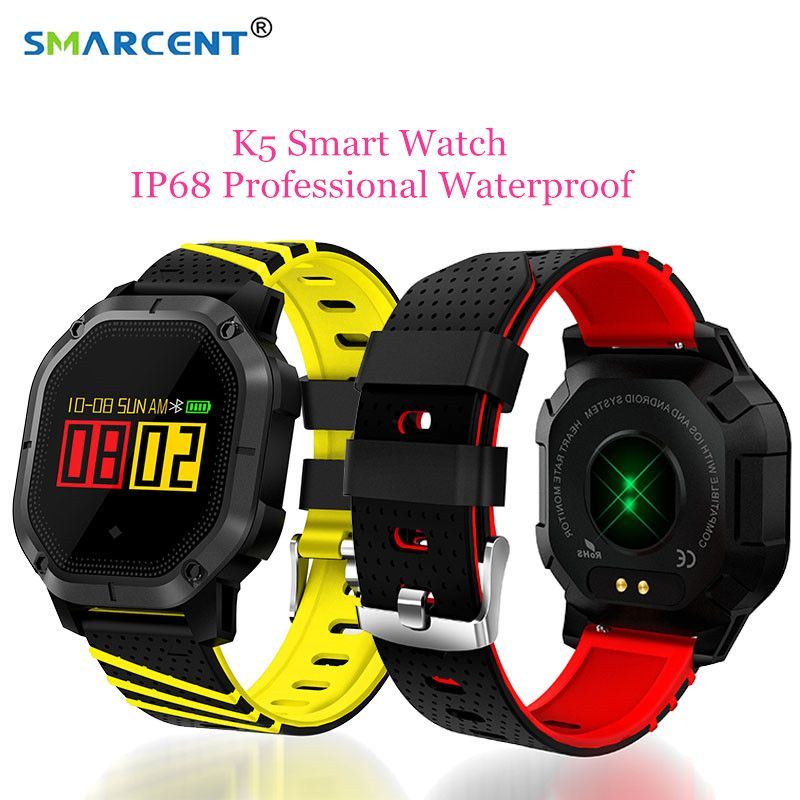 SMARCENT K5 Smart Watch IP68 waterproof swimming Pedometer Smartwatch Heart Rate Fitness Tracker Wristwatch for Andriod iOS