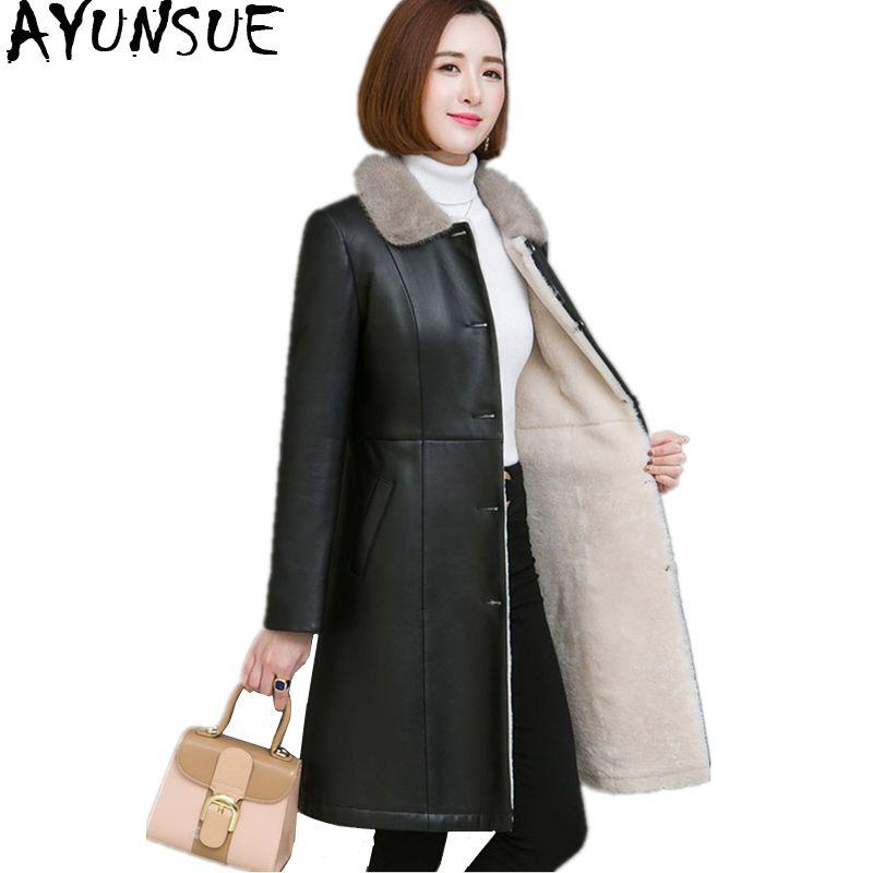 AYUNSUE Winter Schaffell Mantel Für Frauen doppelseitigen Pelz Mäntel Dicke Warme Echte Leder Jacke Natürliche Nerz Pelz Kragen WYQ2092