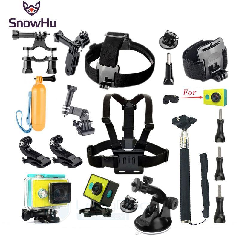 Accesorios Set Wateraproof SnowHu para Xiaomi Yi Funda Protectora Frontera accesorios Montaje de trípode Monopod Para Cámara GS47 Xiao yi