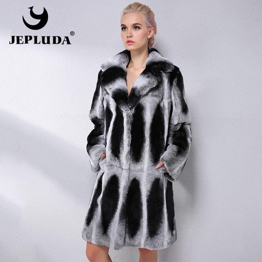JEPLUDA Marke Mode Natürliche Rex Kaninchen Fell Mantel Winter Anzug Kragen Starke Echt Pelzmantel Frauen Echtpelz Jacke Leder jacke